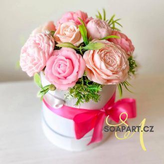 IN STOCK,  Round Box, S, 7 Soap Flowers, mix