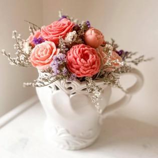 IN STOCK, Vase Aja, 11 soap flowers, pink