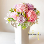 IN STOCK, Vase Lili, 11 soap flowers, purple and pink