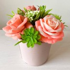 IN STOCK, Bucket with 3 soap flowers, mix 1