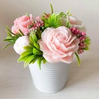 IN STOCK, Bucket with 5 soap flowers, mix 6