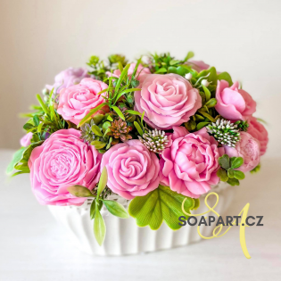 IN STOCK, vase Sara, 13 soap flowers, mix