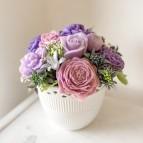 ON STOCK Vase Jana, 11 soap flowers, purple
