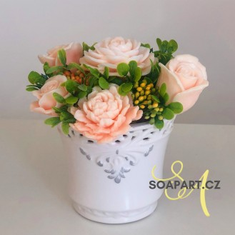 Vase Ema, 7 soap flowers