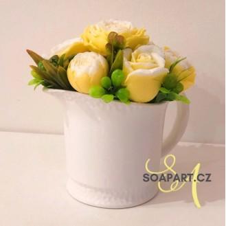 Vase Agata, 7 soap flowers