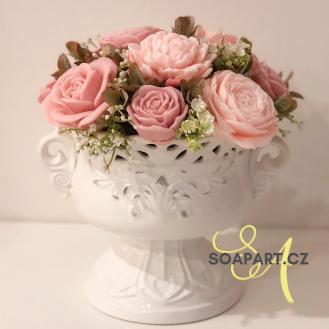 Vase Nikola, 13 soap flowers