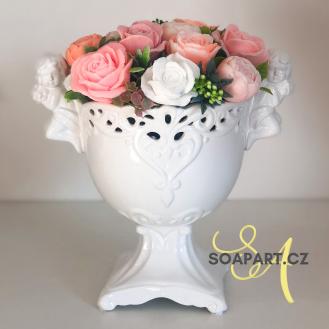Vase Angel, 13 soap flowers