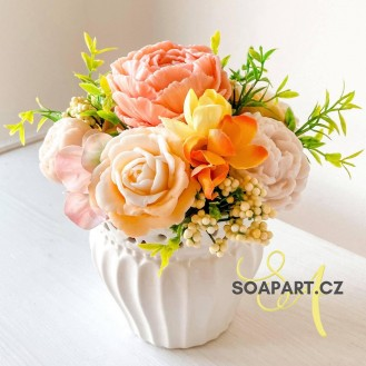 IN STOCK, Vase Alena, 7 soap flowers, beige and salmon