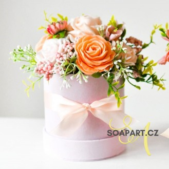 Round Box, S, 7 soap flowers