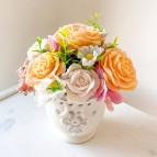 IN STOCK, Vase Bara, 7 soap flowers, beige