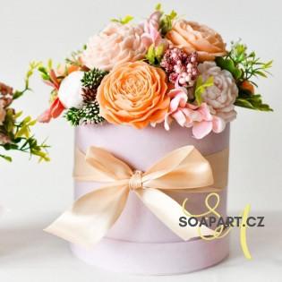 Round Box, M, 11 soap flowers